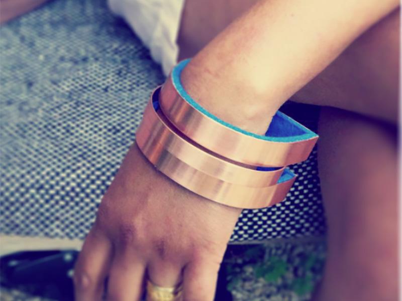 Copper and Velvet Bracelet
