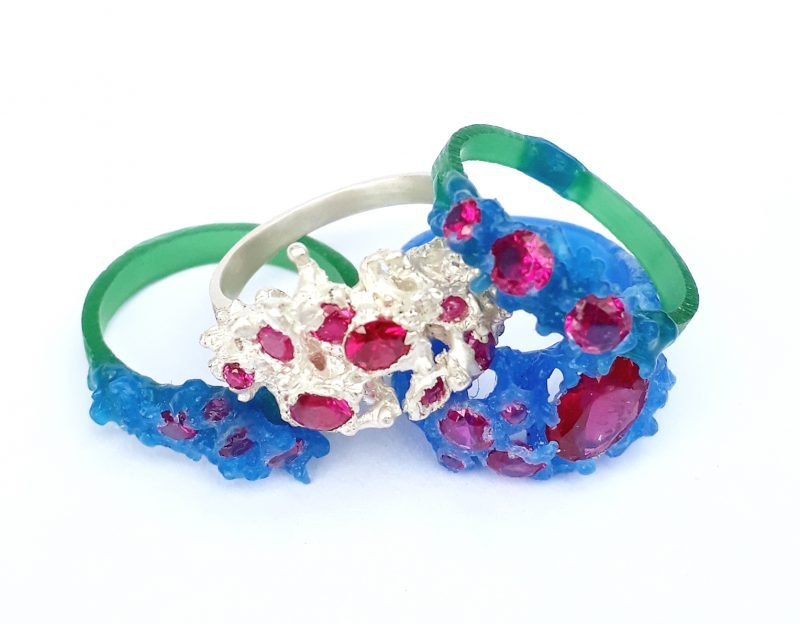 wax carved ring with stones