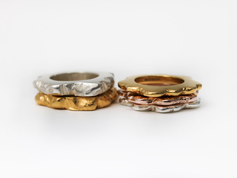 Sally V stack rings flat