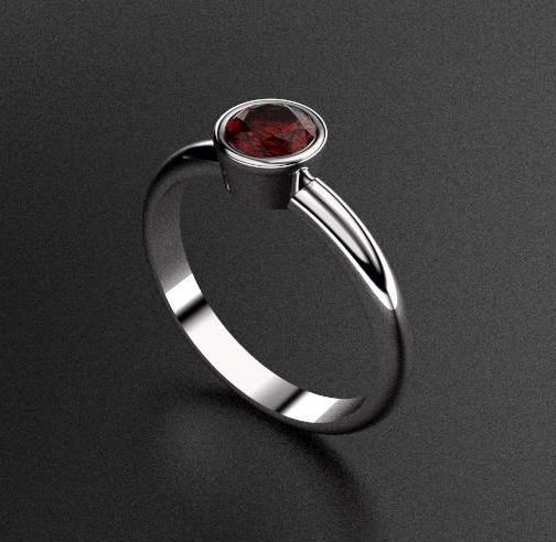 Rhino rendered silver ring 2